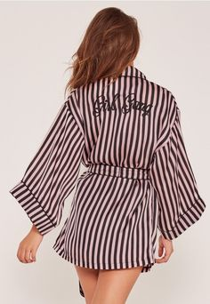 Look the ultimate dream in our silk slogan robe. Featuring striped detail and black piping for the extra sass factor.