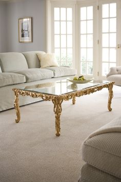 Carved wood table with leaf motif and antiqued goldleaf finish. Hand made in Italy. Details here: http://www.decorativecrafts.com/shop/item.aspx?itemid=245 #table #coffeetable #interiordesign #interiors #homedecor #decor #design #goldleaf #handmade #luxury #goldleaf #furnishings #highend #lavish #inredning #innearchitektur #Italy #Italian