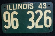 1943 Illinois License Plate - 96326
