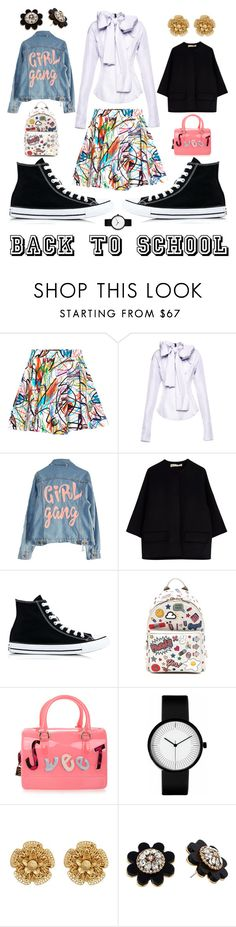 """""""Back 2 sCOOL"""" by youngpablo ❤ liked on Polyvore featuring Jeremy Scott, High Heels Suicide, Marni, Converse, Anya Hindmarch, Furla, Miriam Haskell, Kate Spade, backpack and inmybackpack"""