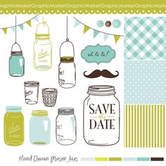 Mason Jars /& Fireflies Clip Art High Resolution Separate PNG Files Instant Download Commercial Use OK.