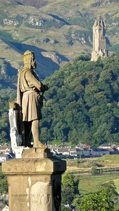 Robert The Bruce and The Wallace Monument . Stirling, Scotland.