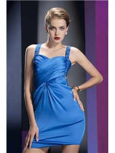 Sexy Backless Mini-Length Sheath/Column Beading Straps Cocktail Dress