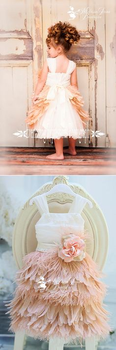 Blushing Blush Girls Feather Apron Dress @April Cochran-Smith Cochran-Smith Meza  but imagine the feathers all around!