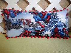 Spiderman Pillow in Red, Blue and White Print for Little Boy's Room | JRsPillowsandBags - Children's on ArtFire #afpounce