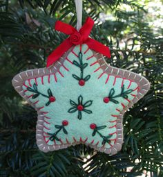 Wool Felt Embroidered Star Sugar Cookie Ornament by FHGoldDesigns, $7.00