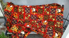 """Autumn Rag Quilt, Sunflowers and Pumpkins Lap Quilt, Unique Gift Item, Handmade Rag Quilt, Approx 56'X56"""" Ready to Ship by BermudaStreetQuilts on Etsy"""