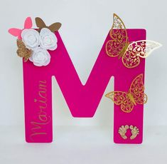 Excited to share this item from my shop: Hot Pink Butterfly Freestanding Wooden Letter, Pink and Gold Nursery Theme, New Born Personalised Gift, Large Initial Letter M, Shelf Letter Pink Bedroom Design, Pink Bedroom For Girls, Pink Bedroom Decor, Gold Bedroom, Bedroom Ideas, Butterfly Baby Room, Pink Butterfly, Butterfly Party, Diy Letters