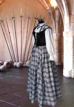 Traditional Scottish Tartan Dress Ensemble No. 1 Black, White