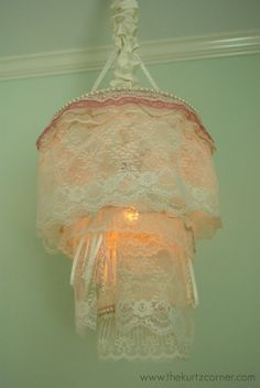 DIY: How to Make a Shabby Chic Lace Nursery Chandelier - using scrap pieces of lace and ribbon, beaded garland and wooden hoops - via The Kurtz Corner Nursery Chandelier, Shabby Chic Chandelier, Diy Chandelier, Shabby Chic Bedrooms, Shabby Chic Homes, Shabby Chic Style, Shabby Chic Furniture, Shabby Chic Crafts, Shabby Chic Kitchen
