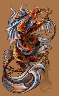 koi dragon tattoo by yamigriffin designs interfaces tattoo design . Koi Dragon Tattoo, Koi Fish Tattoo, Japanese Dragon Tattoos, Dragon Tattoo Designs, Dragon Tattoo Colour, Tatoo Art, Body Art Tattoos, Sleeve Tattoos, Tatoos