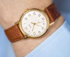 Classy look men's watch  gold plated dress watch Wostok by 4Rooms