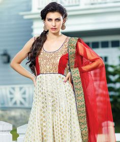 Discover a whole new world of classy ethnics with fashionandyou.com as it brings you a very elegant collection of suits. Featuring lush, evergreen pieces, this line is ultimate indulgence for all divas. Take your pick!BRAND: BrijrajCATEGORY: Unstitched Suit with Dupatta and LiningARTICLECOLOURMATERIALLENGTHTopWhiteChanderi Art Silk Butti3.00 metersBottomWhiteShantoon2.25 metersDupattaRedNet2.50 metersLiningWhiteShantoon2.00 metersPlease Note: The kameez will fit bust sizes upto 40 inches.We…