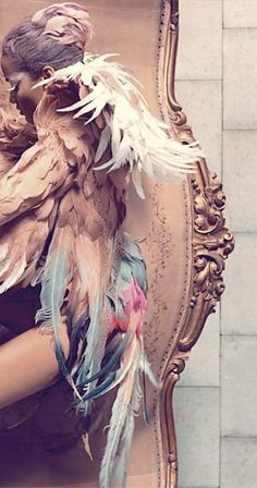 Feather costume.