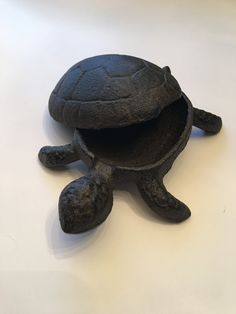 Our cast iron turtle is the perfect place to keep keys, jewelry or any little treasure you want to keep under cover. We think Mr. Turtle would make a great stocking stuffer. This little guy measure 4