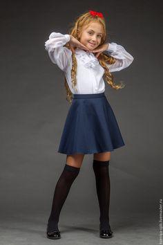Little Girl in white shirt & dark blue dress Girly Girl Outfits, Cute Little Girl Dresses, Beautiful Little Girls, Kids Outfits Girls, Pretty Outfits, Cute Girls, Girls Dresses, Preteen Girls Fashion, Young Girl Fashion