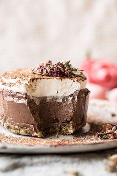Vegan Chocolate Custard Cake - a walnut, date, and coconut crust, chocolate tofu layer and coconut layer : halfbakedharvest Vegan Dessert Recipes, Delicious Desserts, Cake Recipes, Yummy Food, Dessert Healthy, Vegetarian Desserts, Healthy Cake, Health Desserts, Chocolate Custard