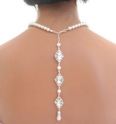 Backdrop necklace, bridal pearl necklace, wedding back drop necklace, rhinestone necklace, statement necklace