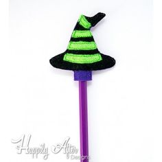 Witch Hat Pencil Topper Embroidery Design