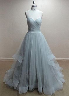 Formal Blue Tulle Ball Gown Prom Evening Dress Cwb0212