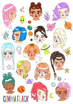 girlfaces in space sticker set by GemmaFlack on Etsy Art And Illustration, Illustrations Posters, Doodle Characters, Arte Sketchbook, Arte Pop, Copics, Cute Art, Art Inspo, Painting & Drawing