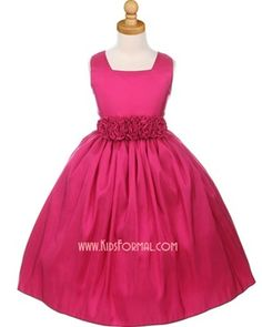 Sleeveless Square Neck Taffeta Dress with Hand-Rolled Flower Cummerbund
