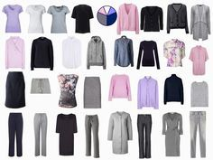 32 pieces all seasons- except for the beige trousers, all the pieces of the Common wardrobe are contained here