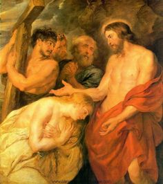 """<Christian Collectivism> [""""We'll go to suffer together, and we'll bear the cross together!…""""/p. 422] Just like Simon of Cyrene (man on the very left in the picture) who assisted Jesus to Golgotha, Sonya is an assistant and a spiritual guide to Raskolnikov, because the the sin Raskolnikov is trying to redeem through the cross is too burdensome for him. This scene renders the author's collectivist interpretation about the life of a Christian and the importance of a communal relationship."""