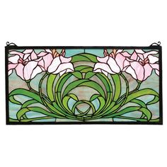 Tiffany-style stained glass panel with a brass frame and calla lily design.   Product: Window panelConstruction Material: ...