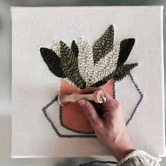 Painting and punching. To see the process start to finish, swipe left. Diy Laine, Hook Punch, Punch Art, Punch Punch, Punch Needle Patterns, Latch Hook Rugs, Craft Punches, Loom Knitting, Rug Hooking