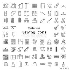 Vector: Sewing line icons set. Tailoring supplies and accessories. Fabric, needle, thread, scissors, sewing machine, pin, ruler, organizer, iron, zipper, spool, kit, pattern, dummy. Vector illustration.