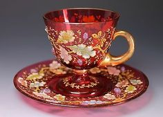 RARE Antique Moser Cranberry Glass Footed Cup & Saucer Acorn and Oak Leaf