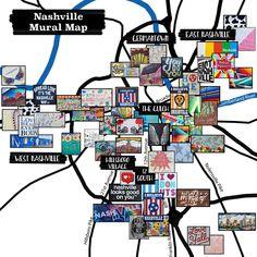 Nashville Map, Nashville Murals, Weekend In Nashville, Nashville Vacation, Visit Nashville, Tennessee Vacation, Nashville Tennessee, Girls Trip Nashville, Gatlinburg Vacation