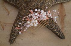 Rose Gold Wedding Hair Comb  Freshwater Pearl  and by Weddingzilla n#bride, #wedding, #weddinghairpiece, #weddinghair