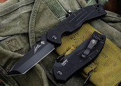 EMERSON KERSHAW CQC-8K FOLDING KNIFE WAVE FEATURE G-10 TANTO PLAIN EDGE 6044TBLK