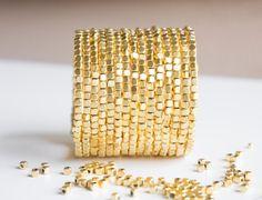 Gold Cube Beaded Cuff  Bracelet Beaded Bracelet by ChooseLikeBuy