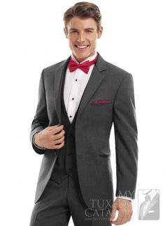 Steel Grey 'Twilight' Tuxedo with red bow tie - from MyTuxedoCatalog.com