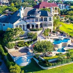 This lakefront stone mansion is located at 213 Costa Bella Drive in Austin, TX and is situated on acres of land. Dream Home Design, Modern House Design, My Dream Home, Stone Mansion, Dream Mansion, Big Mansions, Mansions Homes, Luxury Homes Dream Houses, Modern Pools