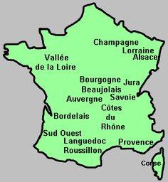 Carte vinicole de France et collection des etiquettes