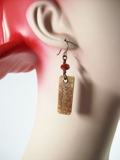 Distressed Copper and Crystal Earrings-Kisses | JulisJewels - Jewelry on ArtFire