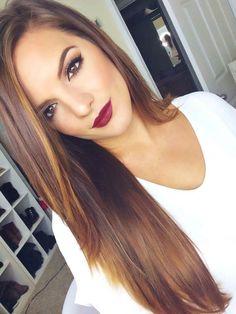 Shiny hair. Long Straigth hair. Dark red lips.
