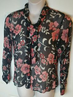 TALBOTS Sheer Floral Blouse Sz 10 Orange Black Red Silk Top Collar tie buttons #Talbots #ButtonDownShirtBlouse #Career