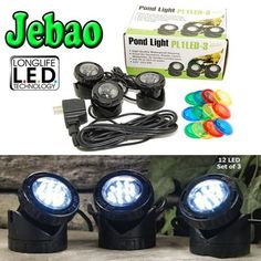 Find best price for Jebao Submersible LED Pond Light with Photcell Sensor, Set of 3 Pond Lights, Aquarium Filter, Set Cover, Led Technology, Amazing Gardens, The Ordinary, Home And Garden, Aquariums, Filters