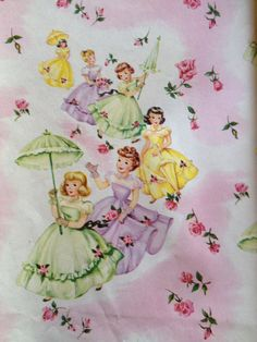 Little Girls with Parasols Sheet Vintage Wrapping Paper