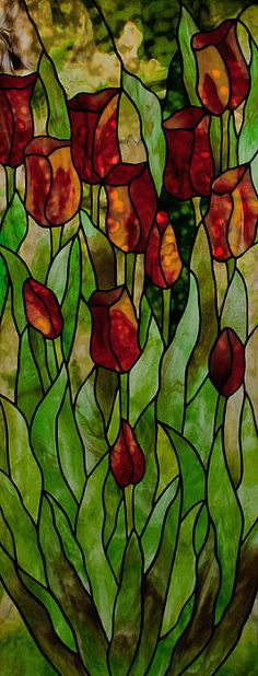 """ Tulips "" designed and made by David Kennedy using Uroboros and Youghiogheny art glass"