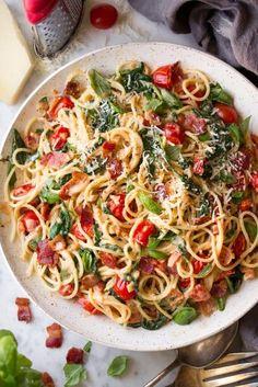 Bacon+Tomato+and+Spinach+Spaghetti