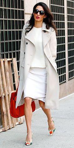 Amal Clooney looks summery in cream ensemble at Columbia University International human rights lawyer Amal Clooney looked summery in a cream outfit with orange accents as she prepares to lecture at Columbia University in New York on Monday Lawyer Fashion, Office Fashion, Work Fashion, Star Fashion, Fashion Outfits, Amal Clooney, George Clooney, Estilo Fashion, Ideias Fashion