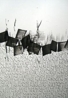 Music of Lettering Gottfried Pott Calligraphy N, Letter Art, Letters, Art Graphique, Gravure, Art Plastique, White Art, Installation Art, Word Art