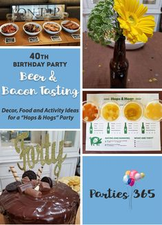 Take a look at this Birthday Party theme for a bacon and beer tasting party! Hops & Hogs was the milestone birthday party theme and we've got some amazing decor cake food and activity ideas for you! 40th Birthday Party Themes, Birthday Party Decorations For Adults, Adult Party Themes, Birthday Backdrop, Birthday Ideas, 30th Birthday, Birthday Dinners, Birthday Images, Birthday Gifts