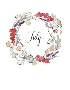 Antique Passion — welcome July! Planner Bullet Journal, Welcome July, Corona Floral, Hello July, Doodles, Wreath Watercolor, Watercolour, Bullet Journal Inspiration, Clipart